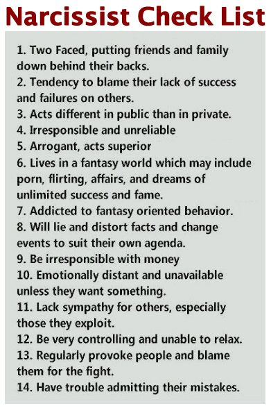 narcissist red flag checklist